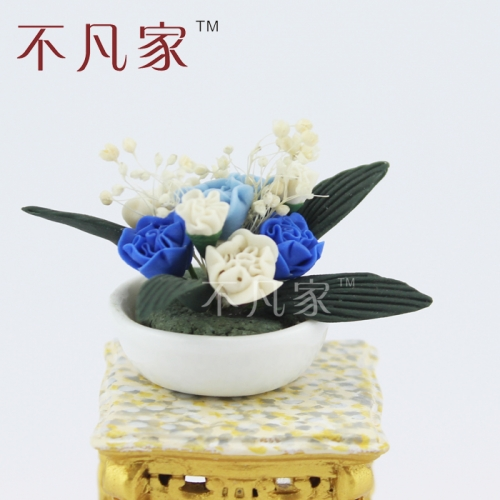 Beautiful mini Potted 1/12 Scale Dolls house Miniature Blue and white Flower