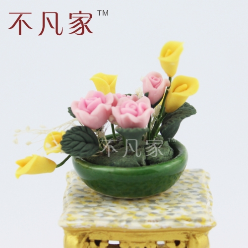 Beautiful 1:12 Scale Dolls house Miniature decoration Pink and yellow Flower
