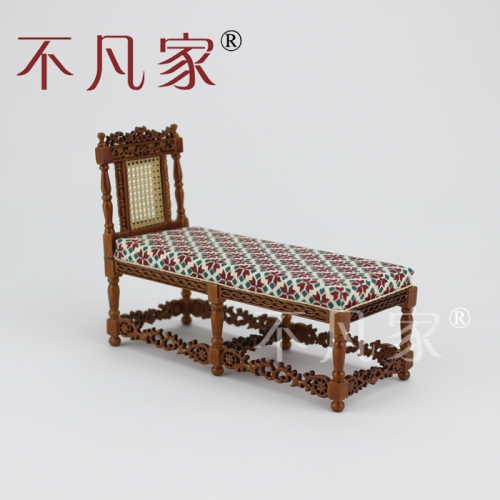 Dollhouse 1/12 Scale Miniature furniture Hand Carved classical deck chair