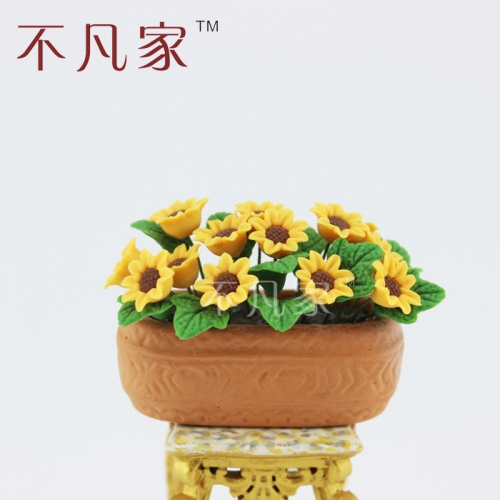 Mouse over image to zoom Details about  Sunflower flower bed for 1/12 Scale Dolls house Miniature decoration Flower