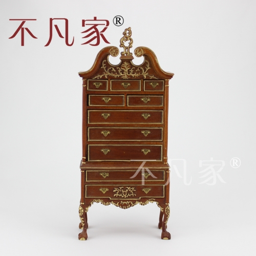 Dolls house 1/12 scale miniature furniture Handmade Gold drawer Collection cabinet