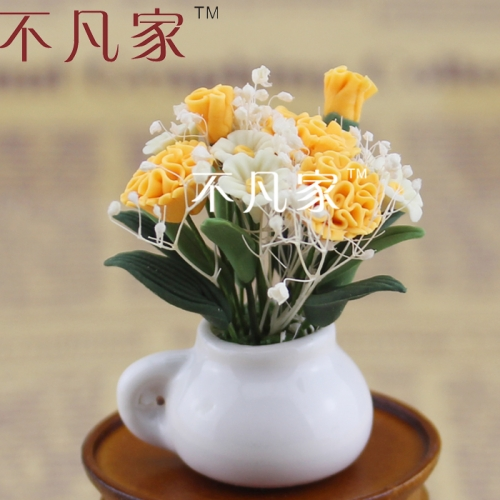 FREE SHIPPING HOT SALE 1/12 SCALE GOOD HIGH QUALITY LOVELY MINIATURE FLOWER FOR DOLLHOUSE DECORATION