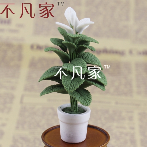 Free shipping 1/12 scale miniature flower mini well made elegant green plant for dollhouse