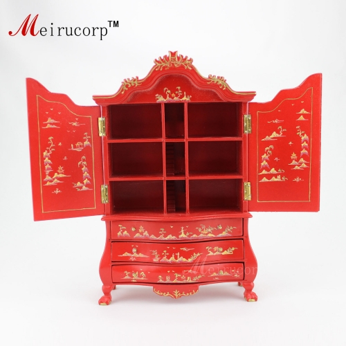 Dollhouse 1:12 scale Miniature furniture Superior quality Hand painted red cabinet 10506