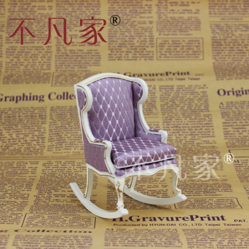 Dollhouse 1/12 th Scale Miniature furniture white Handmade Gold Rocking chair