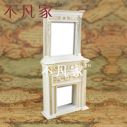 1/12 scale Doll house micro mini furniture white gold fireplace