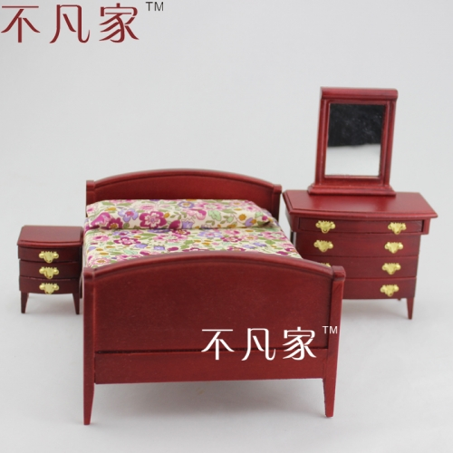 Fine 1/12th Scale Miniature Handmade grand wooden bedroom set for dollhouse