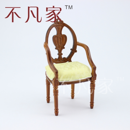 Dollhouse 1/12 scale miniature furniture Beautiful wooden carving Armchair