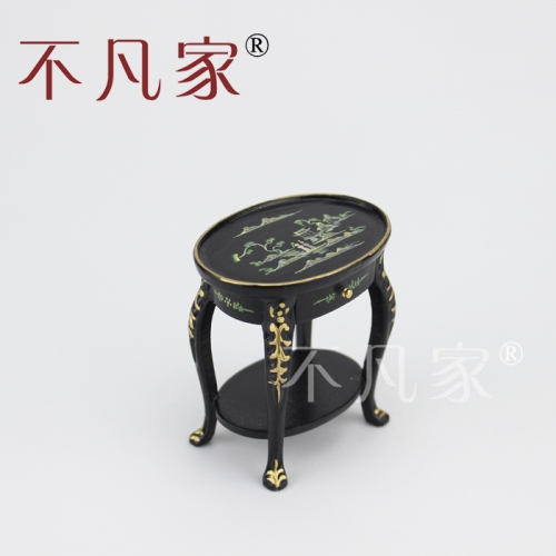 Doll house 1/12th Scale Miniature furniture Black hand painted small table