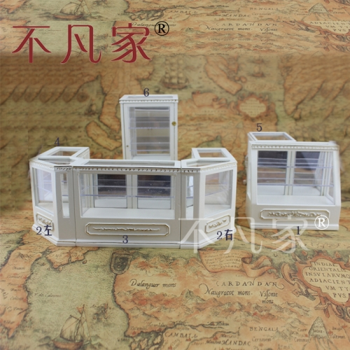 Dollhouse 1/12th Scale Miniature furniture Hand white Store display cabinet set