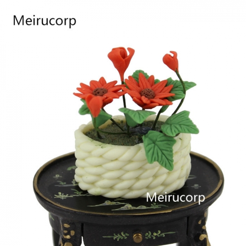 Details about Dollhouse 1/12 Scale Well Made Miniature Nice FLOWER Basket flowerpot