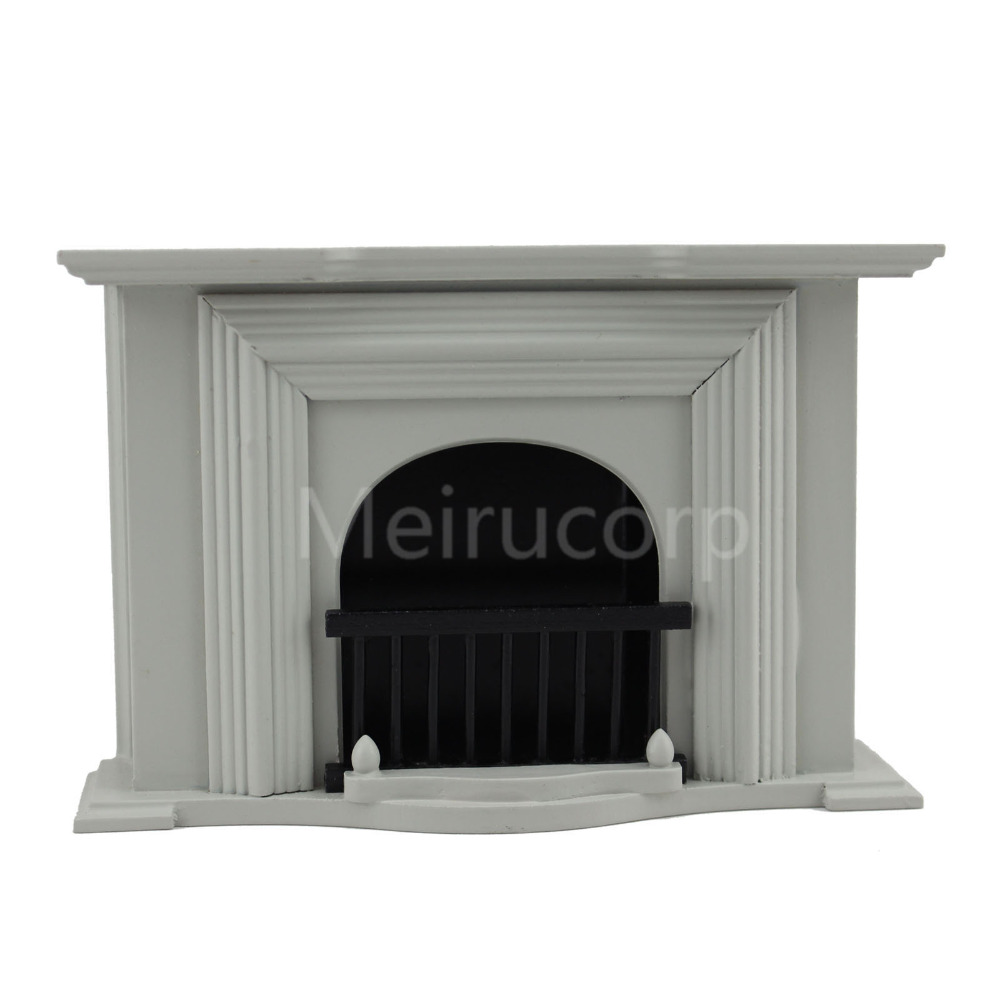 Dollhouse miniature furniture 1/12 scale Handmade Silver gray fireplace