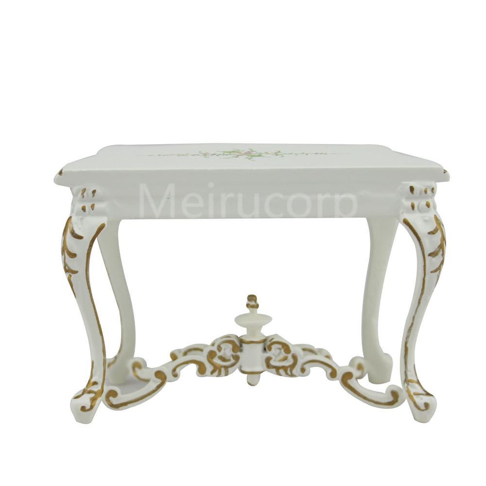 Dollhouse miniature furniture 1//12 scale Scene model Handpainted white Sidetabel