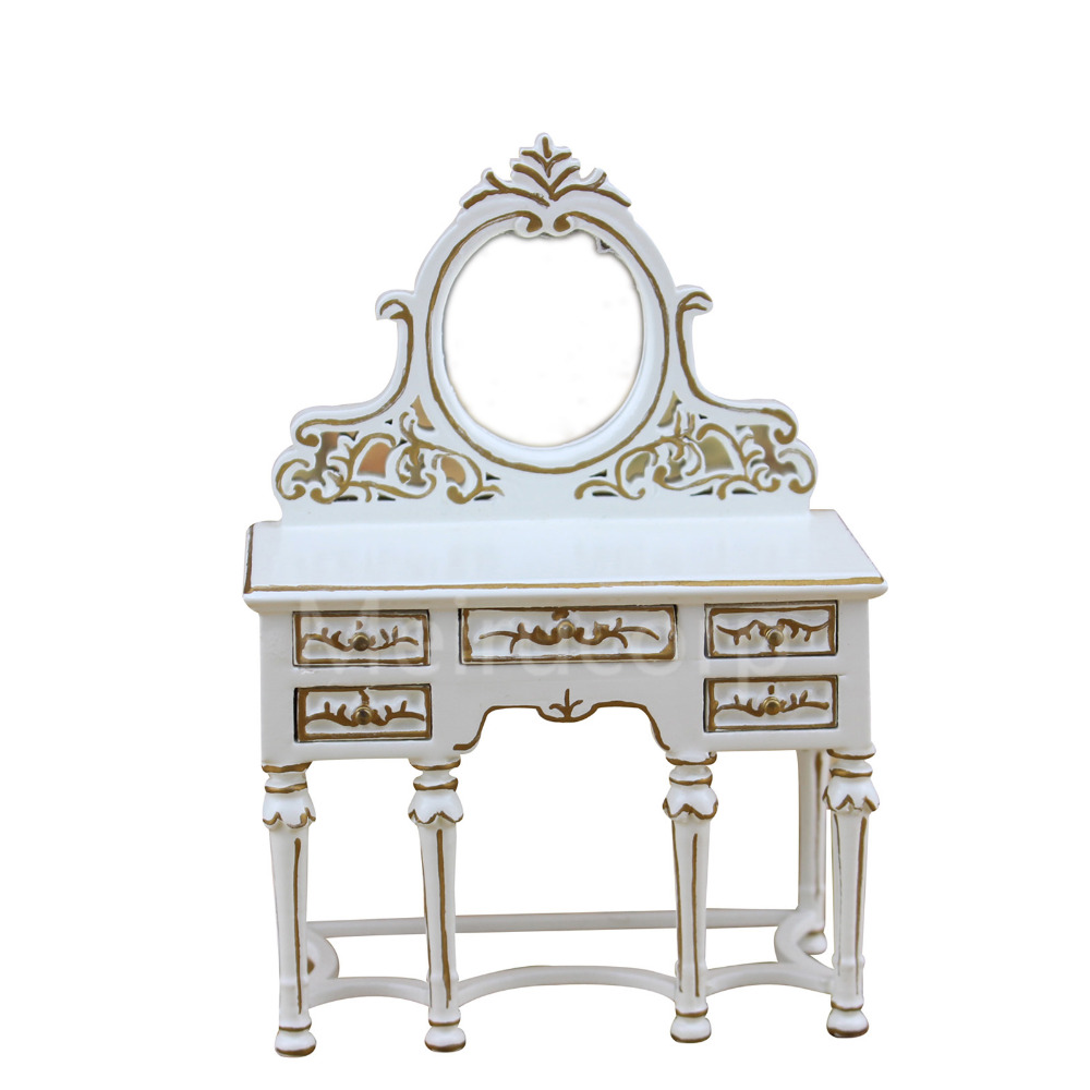 Dollhouse miniature furniture 1/12 scale white Handmade gilt Dressing table