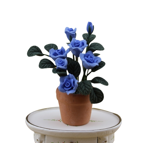 fine Dollhouses 1:12 scale model Blue flower and Pottery pot