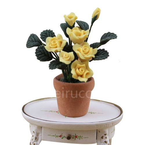 Dollhouses decoration 1:12 scale yellow Pink flower and Pottery pot