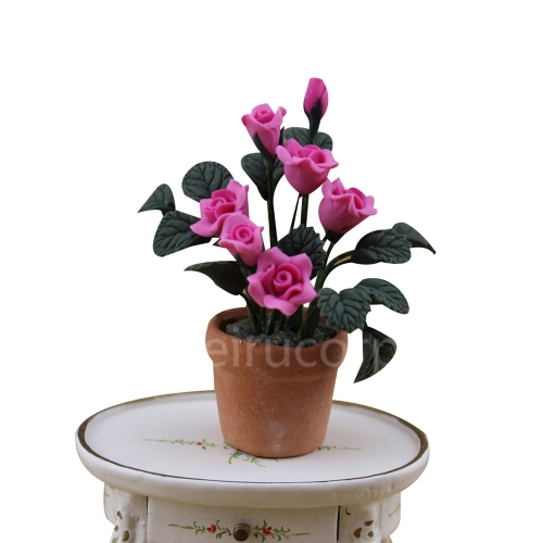 Dollhouses decoration 1:12 scale model Pink flower and Pottery pot
