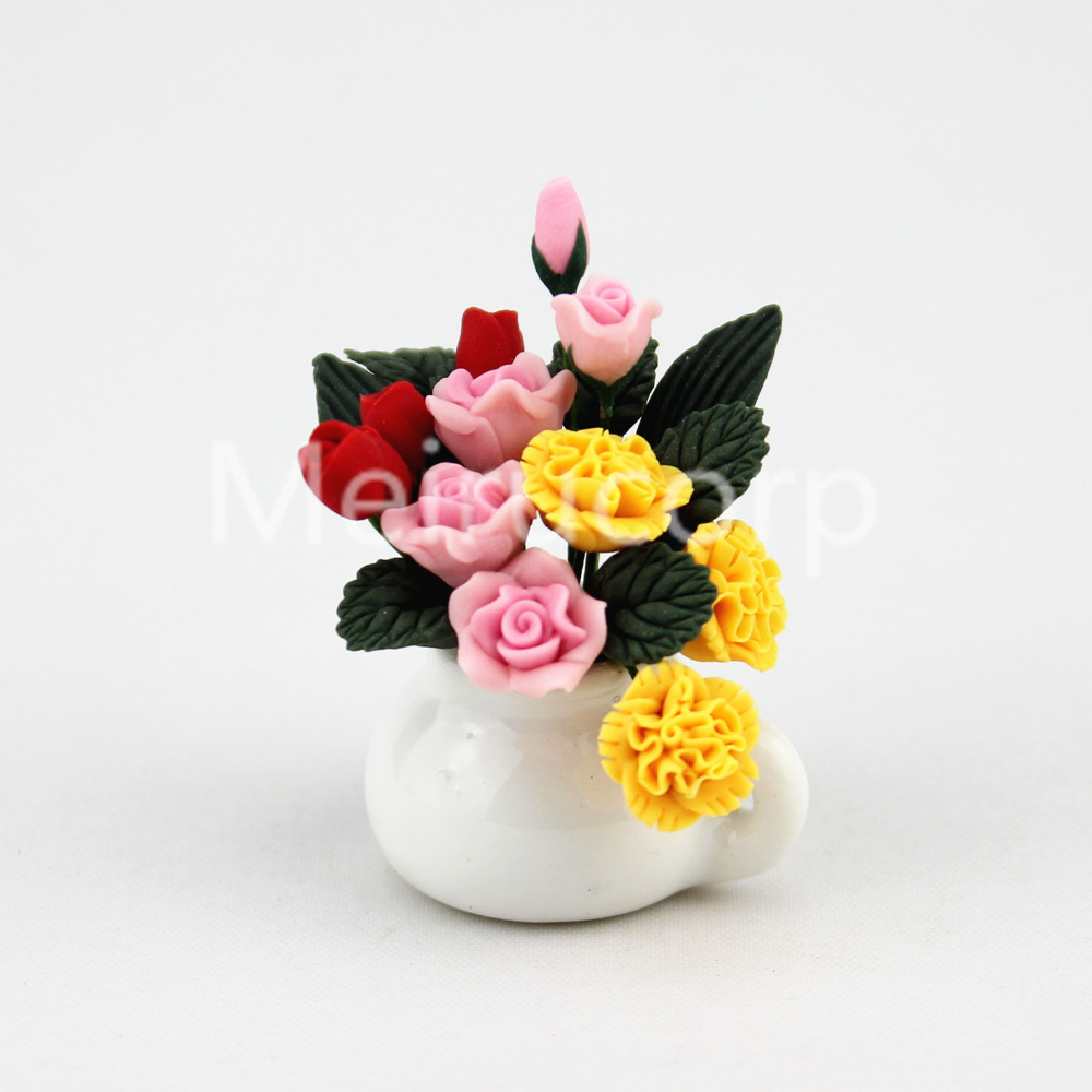 dolls house 1//12 sacle miniature decorate Potted Yellow and red flower bed