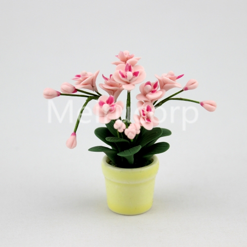 1/12 Scale Dollhouse Miniature Potted pink Phalaenopsis Ceramic flower pot 12067