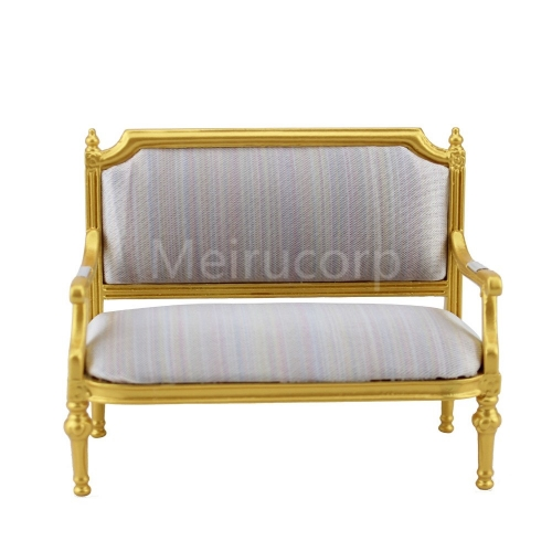 Dollhouse miniature 1/12 scale Living Room Furniture Golden luxury double sofa
