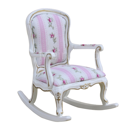 Dollhouse 1/12 Scale Miniature furniture white Hand-painted gold Floral fabric pattern Rocking chair