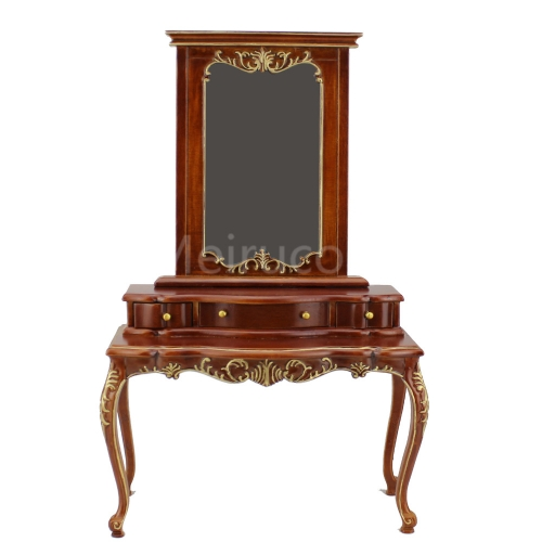 Doll furniture miniature 1/6 scale luxury Hand carved wood Dressing table and mirror