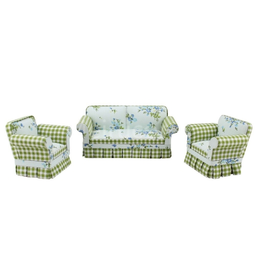 Doll miniature furniture 1/12 scale Fabric Pastoral style Sofa and chair 3pcs Set