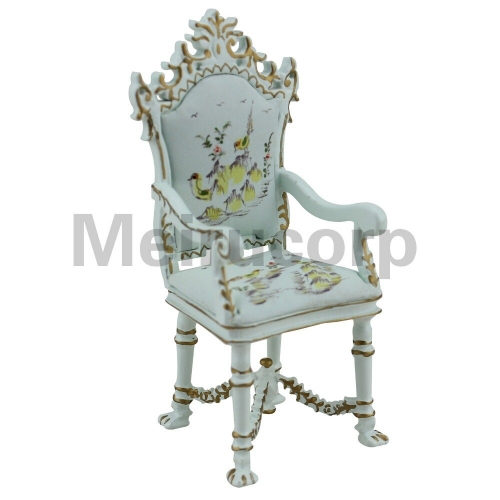 dollhouse furniture 1/12 th Hand painted landscape painting Classical style armchair