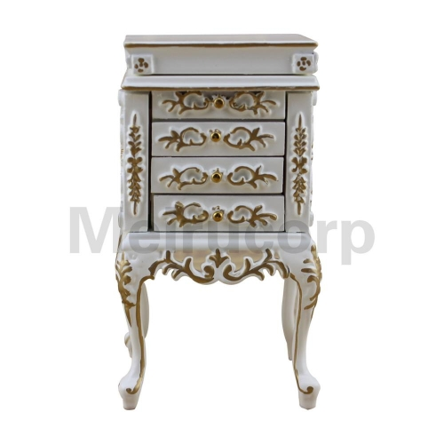 1:12 scale dollhouse miniature furniture Wooden model White gilt Jewelry cabinet