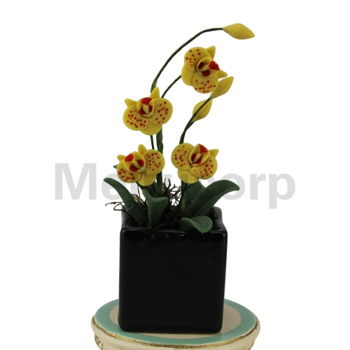 Dollhouse decoration 1:12 Scale Miniature yellow Butterfly orchid and flower pot