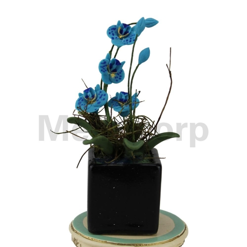 Dollhouse decorate 1:12 Scale Miniature Blue butterfly orchid and flower pot