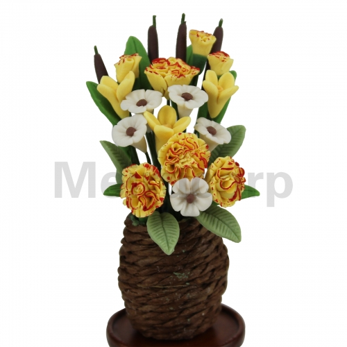 Dollhouse decorate 1:12 Scale Miniature Potted plant yellow Weave Flowerpot
