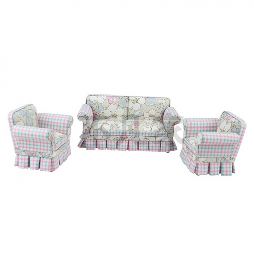 Doll miniature furniture 1/12 scale Petal pattern fabric Living room sofa & chair set 3 pcs