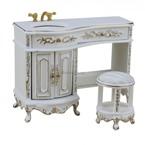 Dollhouse Miniature Furniture 1/12 Scale White Exquisite Washstand and Stool