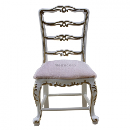 Dollhouse Furniture 1/12 Scale White Wooden Crafts Exquisite Dining Chair