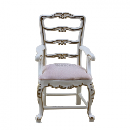 Dollhouse Furniture 1/12 Scale White Wooden Model Beautiful Armchair