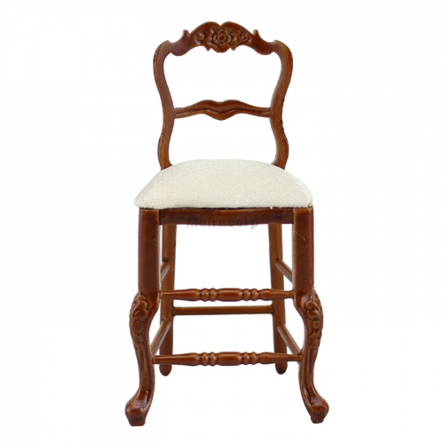 Dollhouse 1/12 Scale Miniature Furniture Wood Craft Carving High Foot Chair