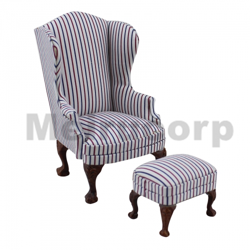 dollhouse miniature 1:12 scale furniture model Striped fabric chair And ottoman