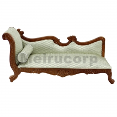 Dollhouse 1/12 scale miniature furniture Hand Wooden carving Walnut color Chaise couch