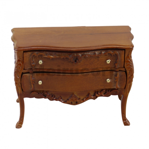 1/12 scale miniature furniture Excellent walnut color Two layer/ drawer cabinet Wood carving