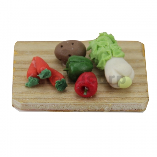 Meirucorp Dollhouse Decorate 1:12 Scale Miniature Kitchen Chopping Board Vegetable Model Carrot Potatoe Pepper
