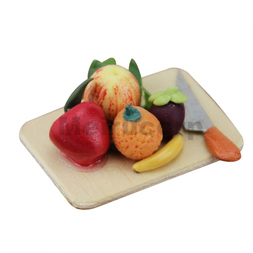 Meirucorp Dollhouse Decorate 1:12 Scale Miniature Wooden Chopping Board Fruits Model Clay Handmade
