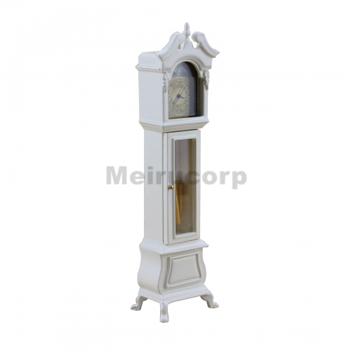 Mini Decoration1/12 scale dollhouse white elegant Floor clock
