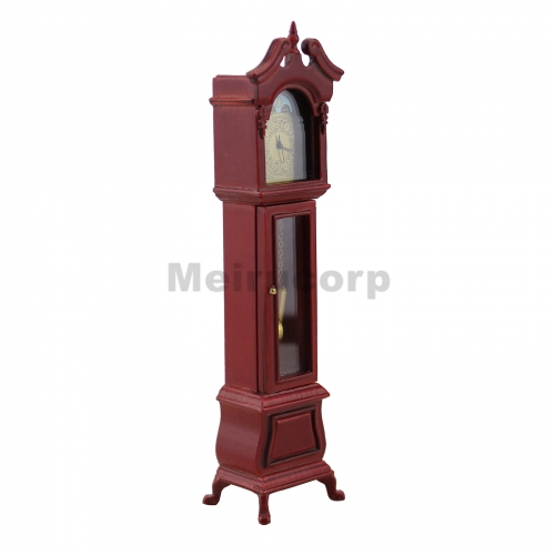1/12 scale dollhouse decoration red Noble Handmade model floor clock