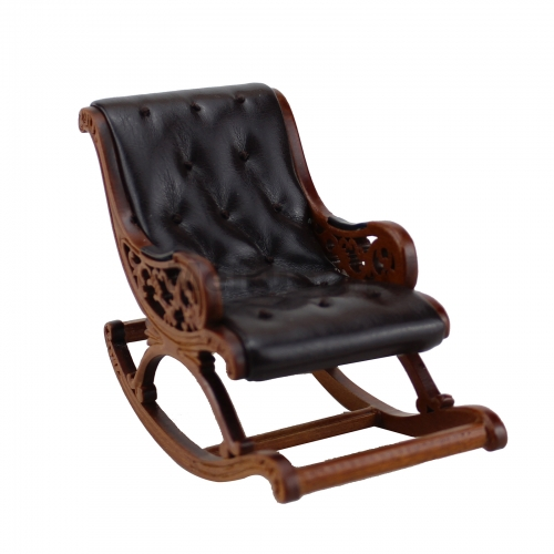 Meirucorp Dollhouse 1/12 Scale Miniature Furniture Hand Carved Wooden Walnut Color Leather Rocking Chair