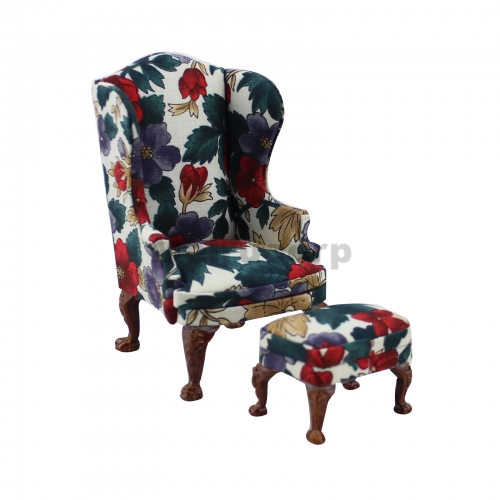 Meirucorp Dollhouse 1:12 Scale Miniature Furniture Classical Hand Carved Wing Chair