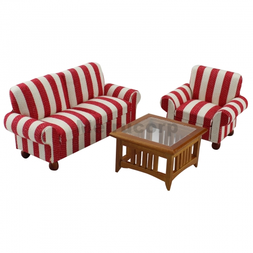 Miniature furniture Dollhouse 1:12 scale Drawing room Striped fabric chair Sofa 3pcs set