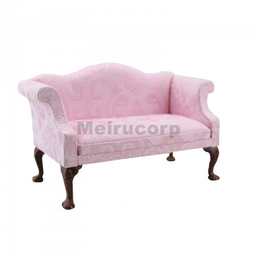 Meirucorp Fine1:6 Doll Miniature Furniture Hand Carved Pink Pattern Fabric Wing Sofa
