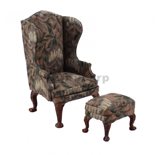 Meirucorp dollshouse 1:12 Scale Miniature Furniture Classical Handmade Wooden Fabric Wing Chair