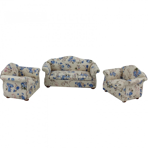Dollhouse 1/12 Scale Miniature furniture beautiful Living room sofa and chair 3pcs model